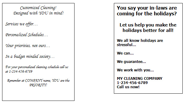 Examples Flyers Residential Cleaning http://articles.cleanoutlook.com/start-up-marketing.html