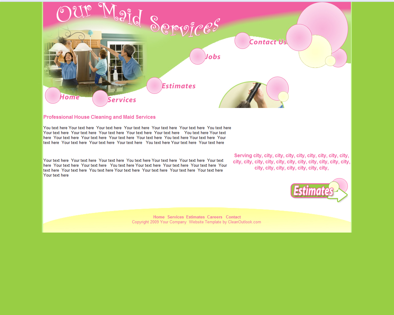 website templates for cleaning companies affordable website designs a fun and bubbly residential cleaning service or maid service company website template a focus on bubbles and green