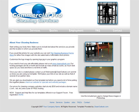 Commercial Janitorial Website Layout Package