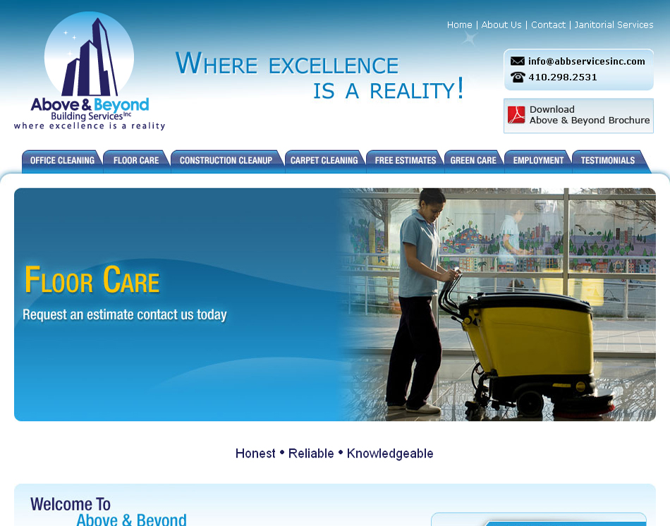 Above and Beyond cleaning company website design image
