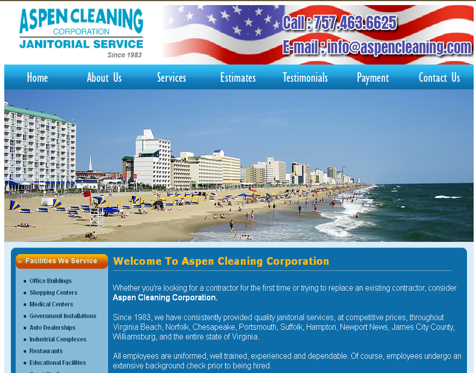 image of janitorial service website design for Hampton Roads cleaning company website Aspen Cleaning