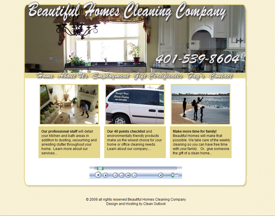 thumbnail image beautiful homes house cleaning company website design