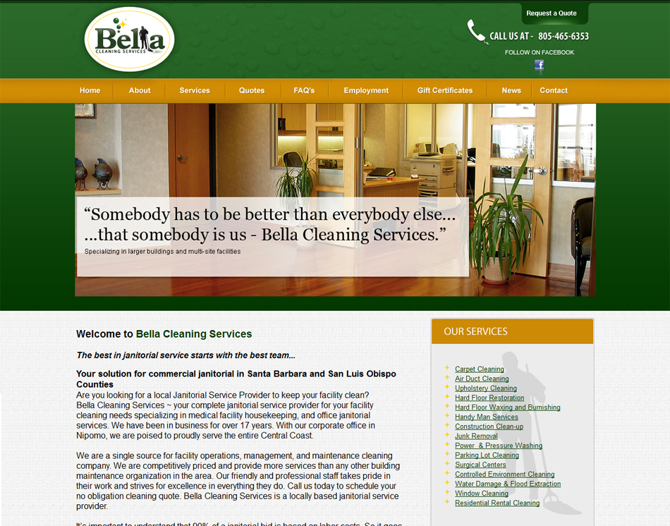 website design thumbnail image Bella Janitorial Services