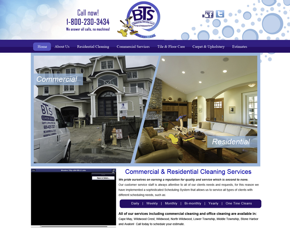 mobile friendly web site design thumbnail image of BTS Cleaning