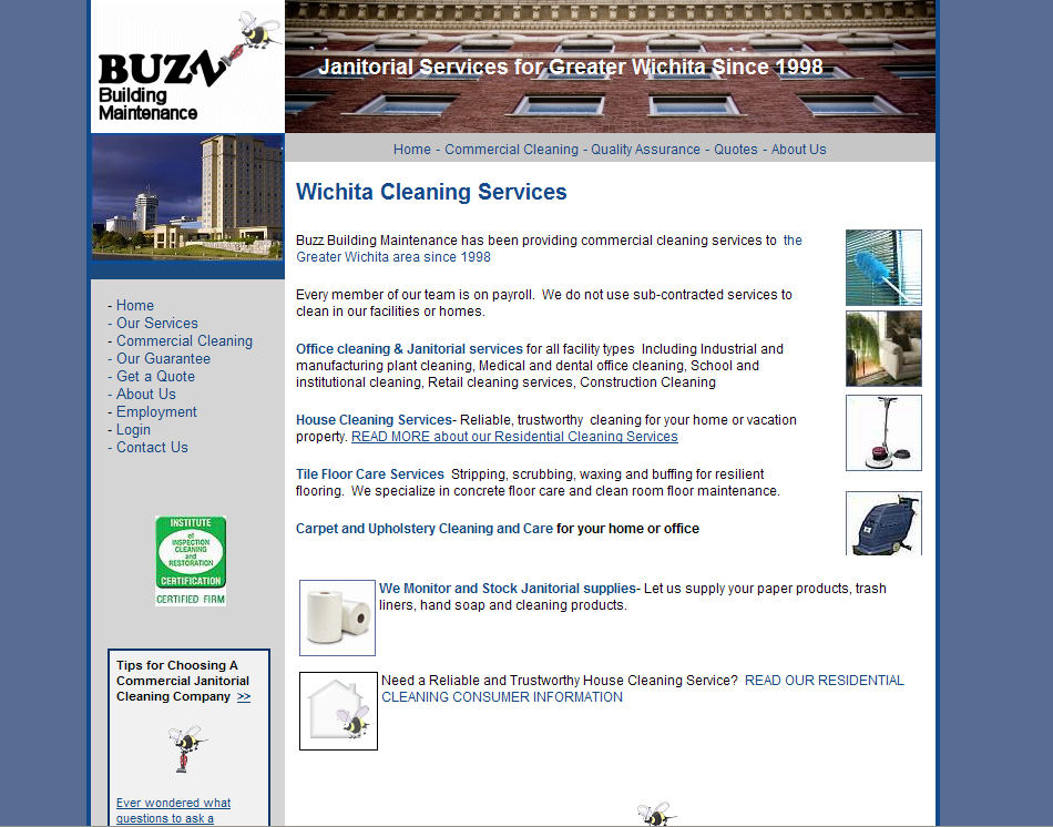 graphic thumbnail Buzz Cleaning Company website
