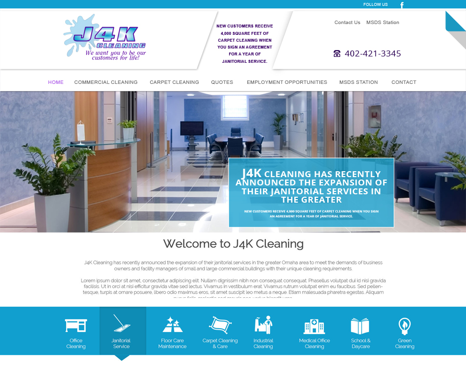 thumbnail image of J4K Cleaning mobile friendly web redesign