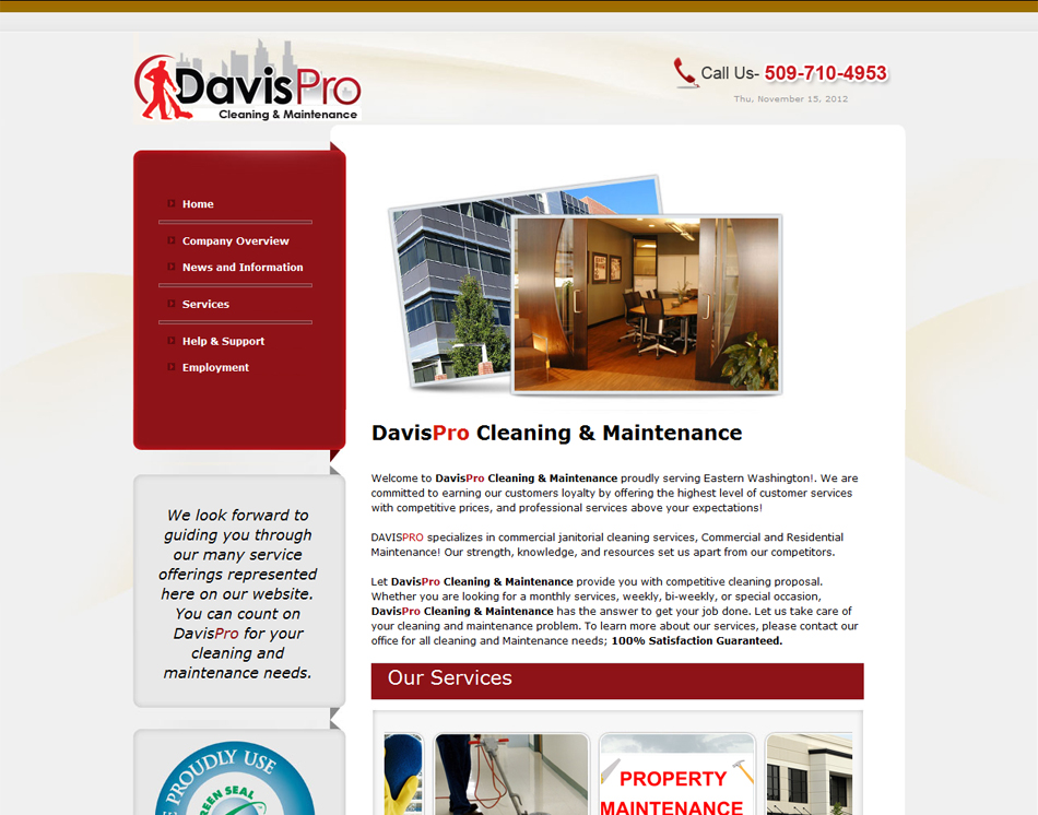 graphic image website layout design Davis Pro Commercial Cleaning Company