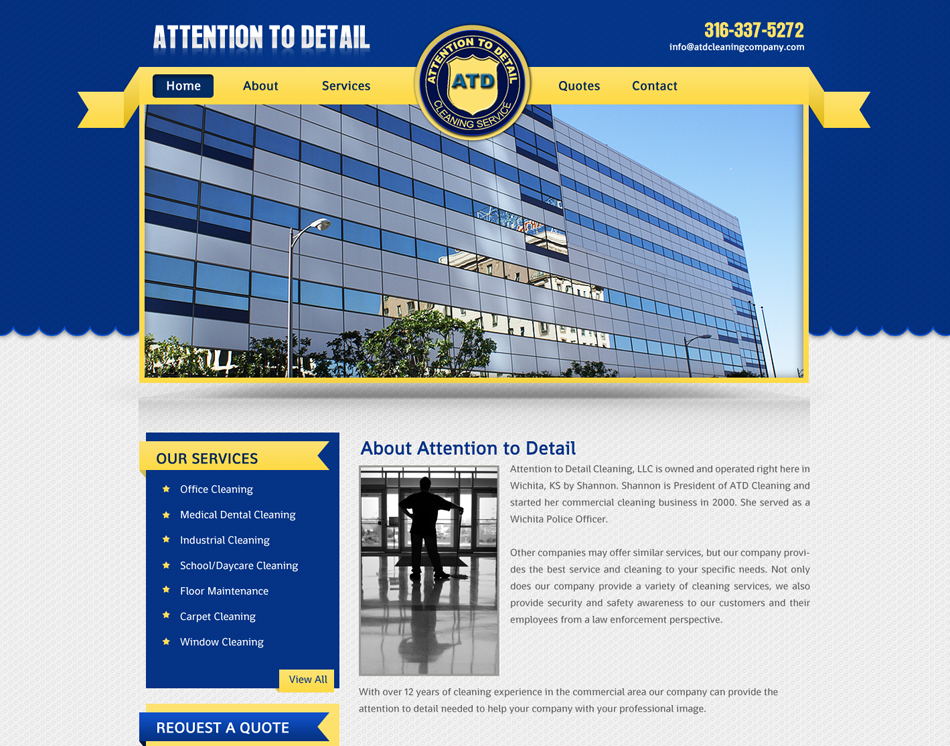thumbnail image website designing attention to detail cleaning company web site design