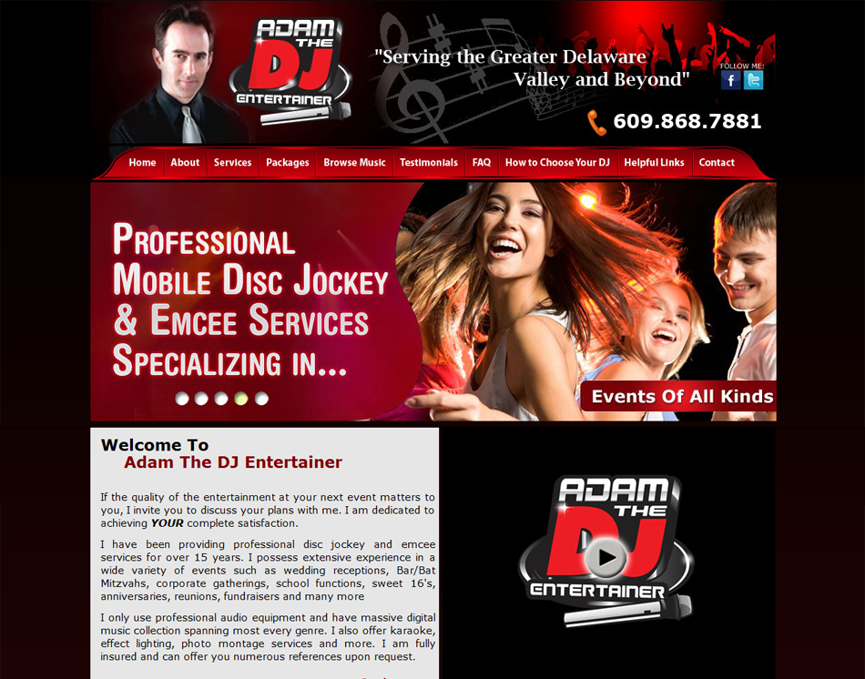 graphic thumbnail image new jersey disc jockey website design layout