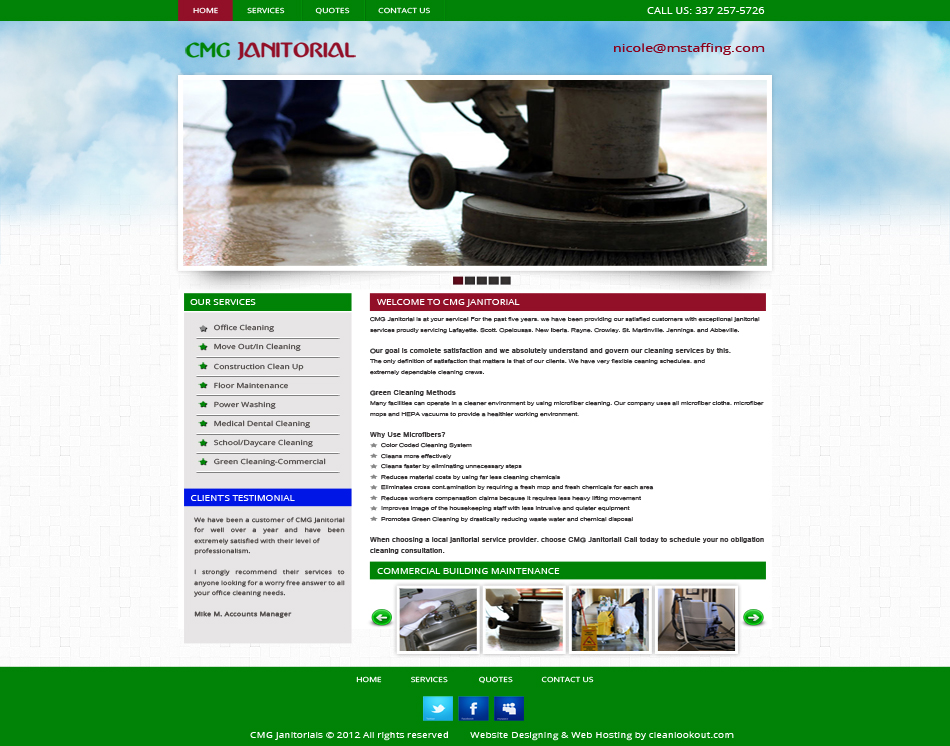 thumbnail image CMG Janitorial Cleaning Company three page expert Web Design Services