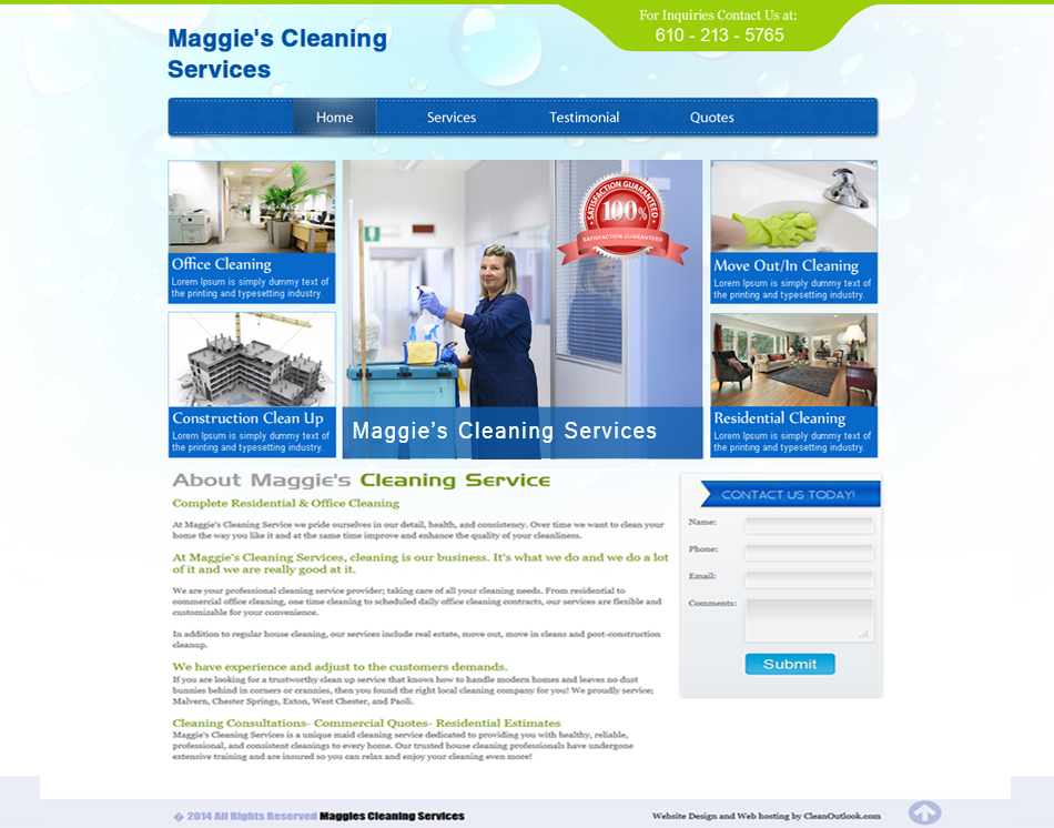 thumbnail image 3 page website design Maggies Cleaning Services web development