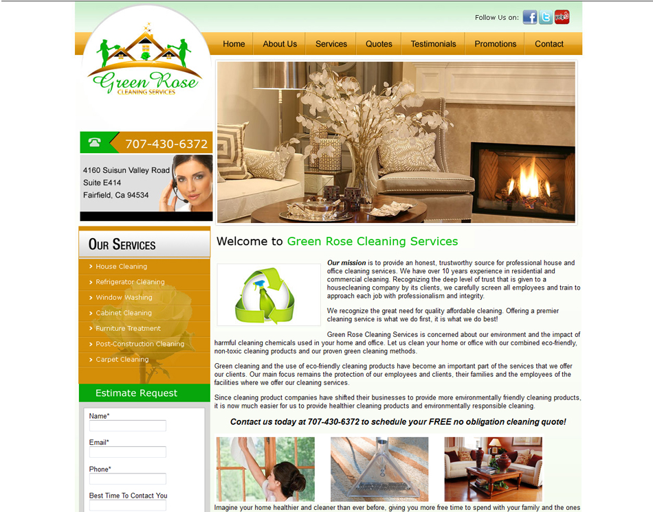 graphic image webdesign Green Rose Cleaning Services company website