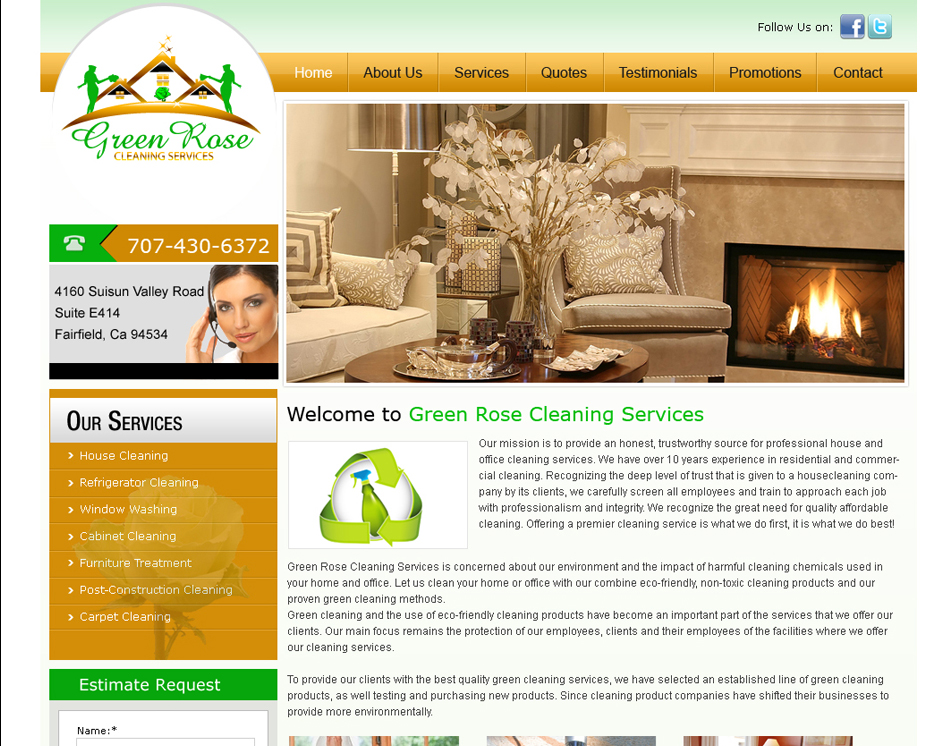 thumbnail image green rose professional house cleaning company website design - Home Design Site