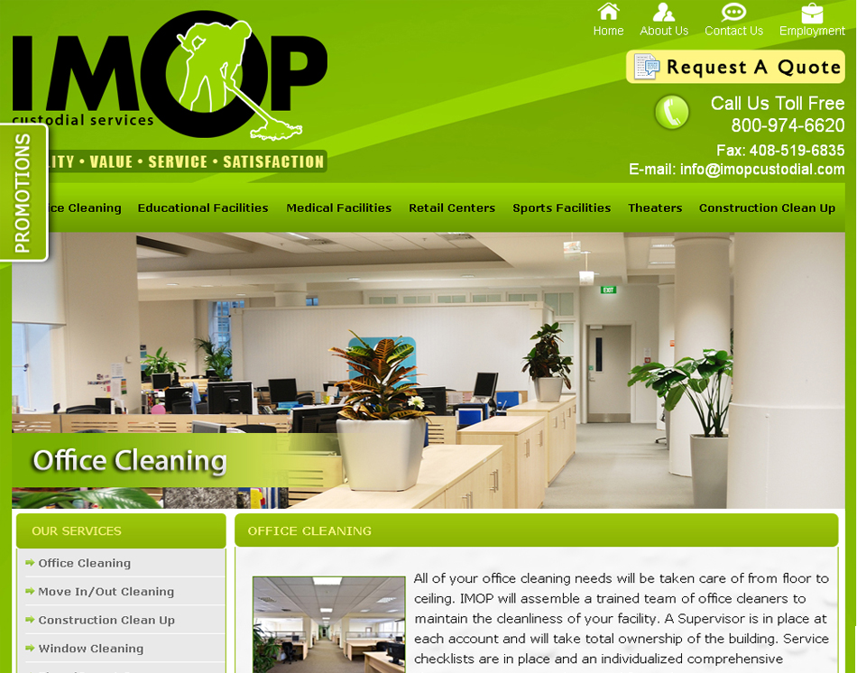 IMOP custodial services website design image
