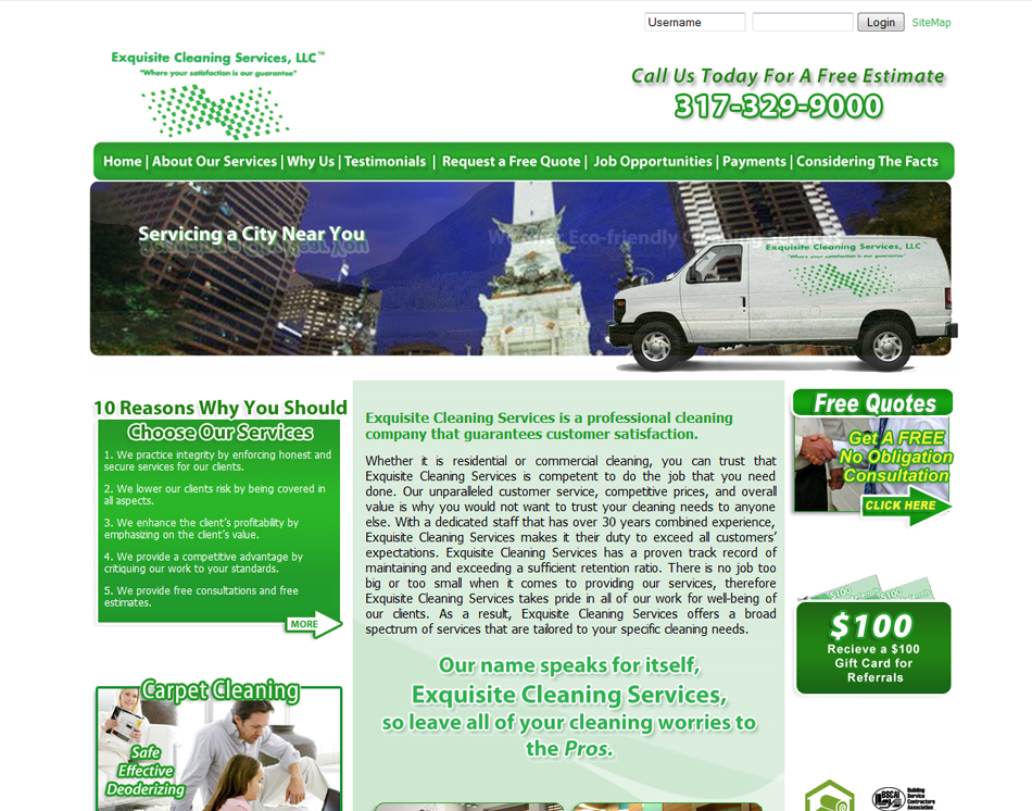 web site design thumbnail image Exquisite Cleaning Company website design