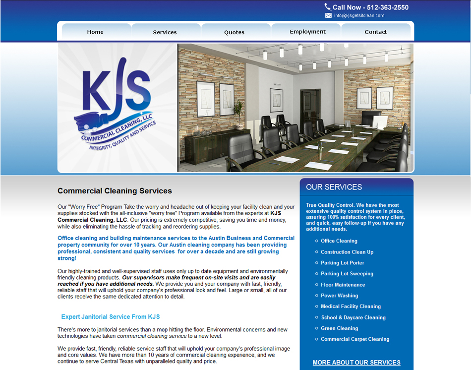website image KJS Commercial Cleaning website design thumbnail