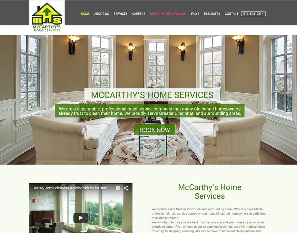 graphic website thumbnail image of mobile friendly site McCarthy's Home Services Cleaning Company web site design