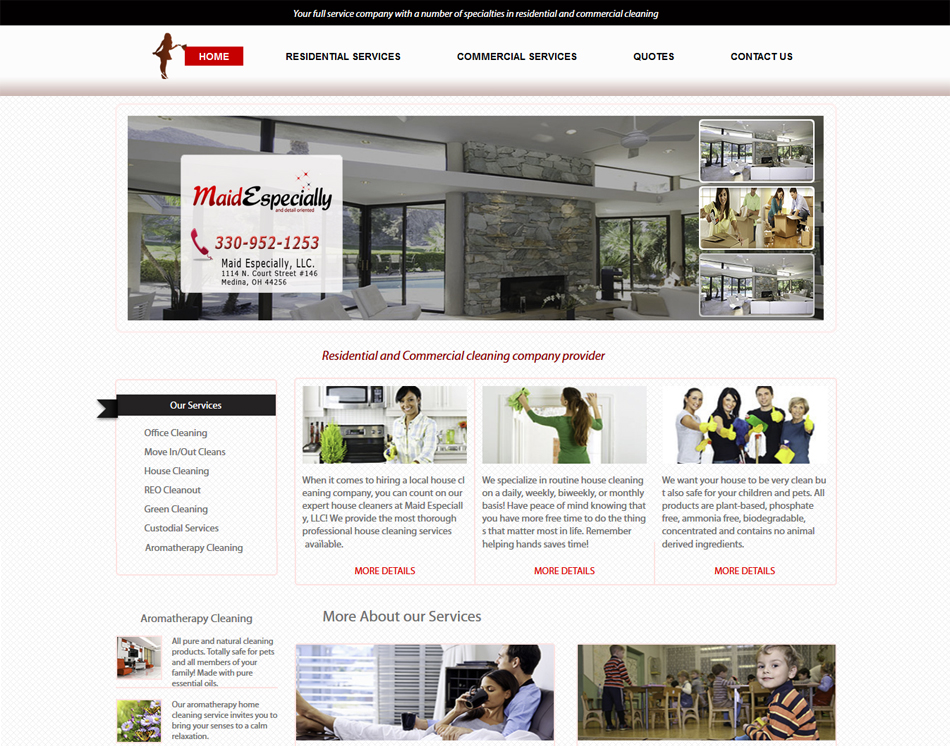 mobile friendly web site design thumbnail image of Especially Maid