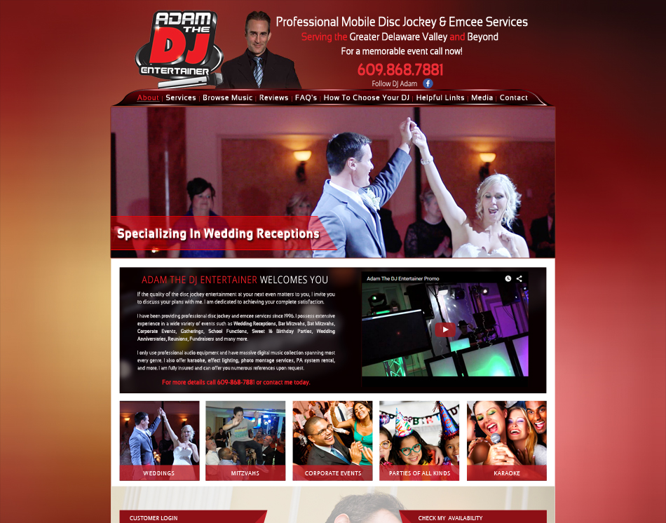 graphic image mobile friendly web design Adam the DJ Disc Jockey web site