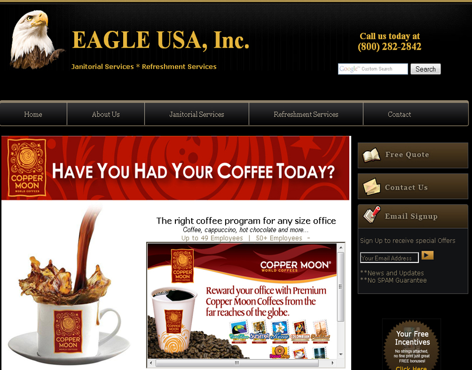 office coffee services website graphic image