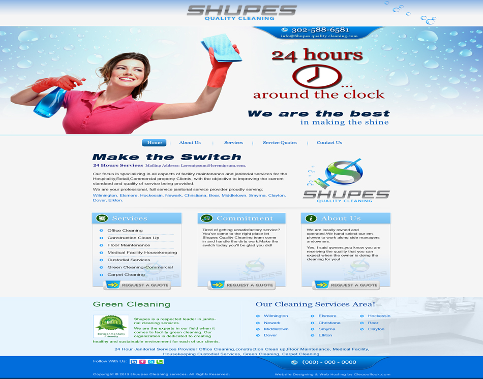 five page responsive web site thumbnail image of Shupes Quality Cleaning Services