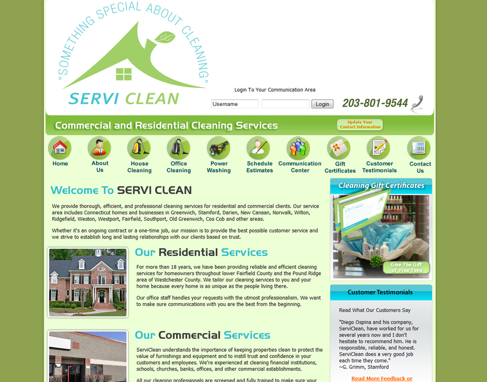 small image servi clean company website design