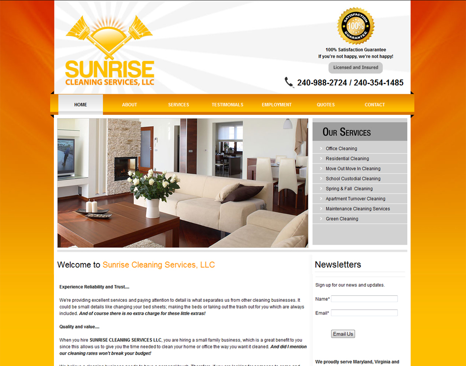 ... Web Site Design Thumbnail Graphic Design Image Sunrise Cleaning  Services Website Design Layout