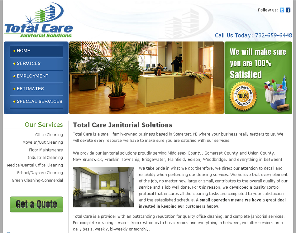 Total Care Janitorial website image