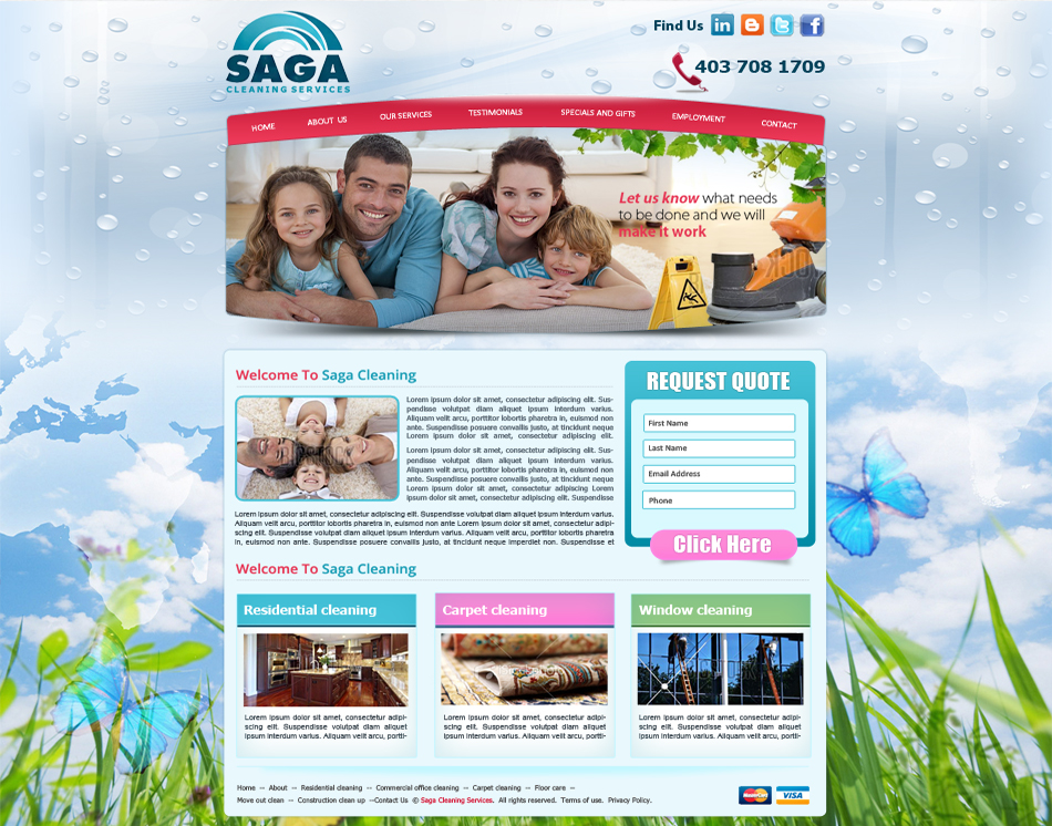 graphic website thumbnail image SAGA Cleaning Company Service web site design