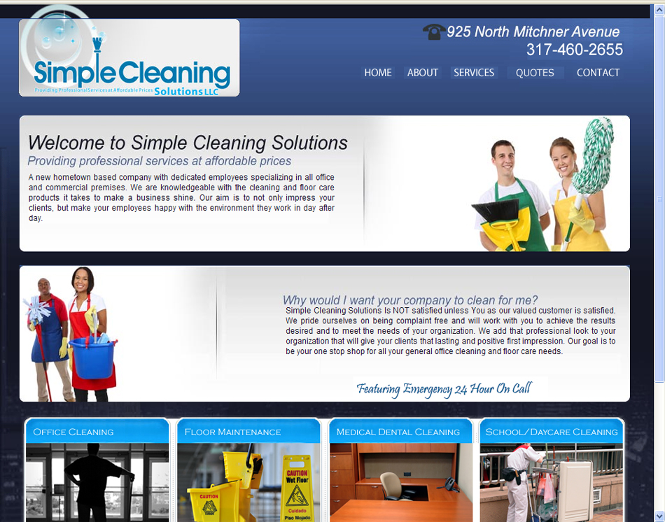 graphic image Simple Cleaning Solutions website development design