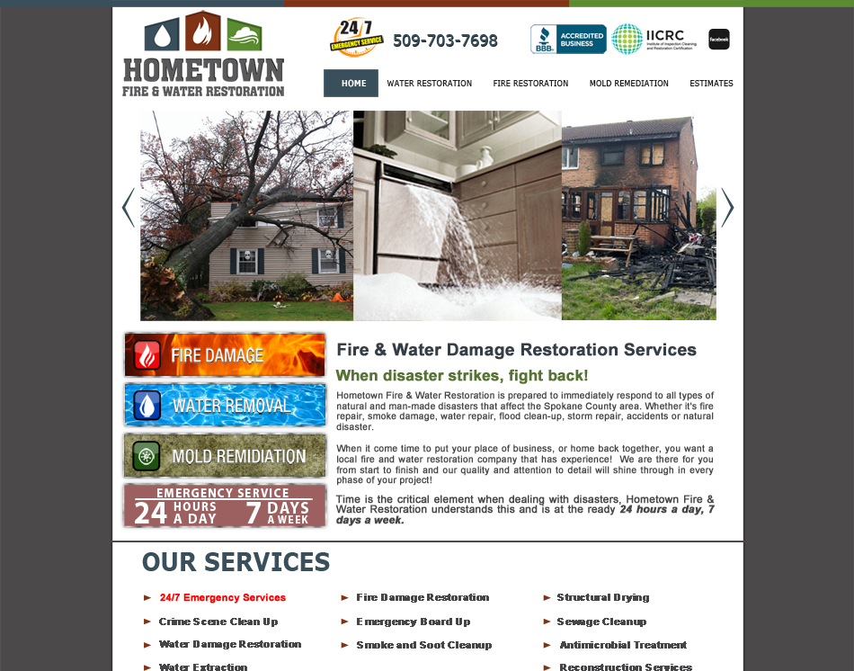 graphic website thumbnail image of mobile friendly site Hometown Service cleaning business web site design